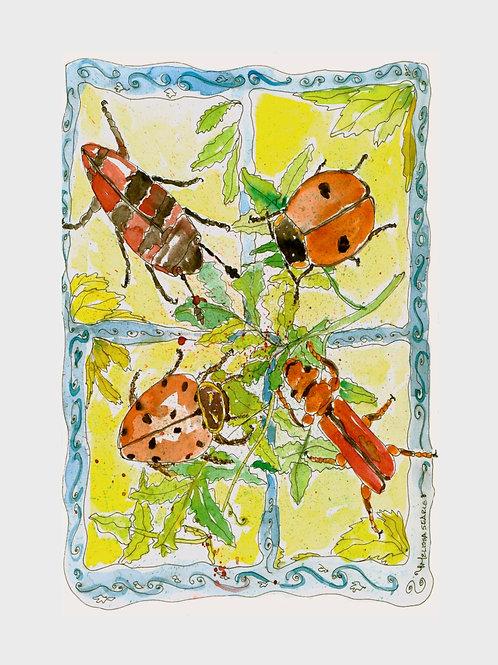 Ladybug Picnic • Watercolor Print