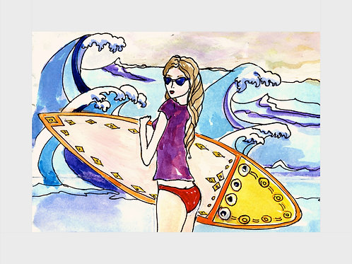 Surfer Girl • Watercolor Print