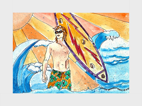 Awesome Surfer Dude • Watercolor Print