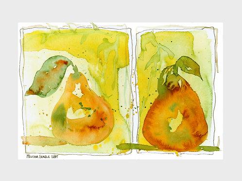 Bosc Pears • Watercolor Print