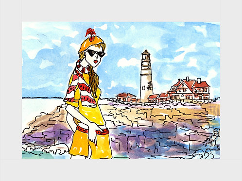 Lighthouse Coast • Watercolor Print