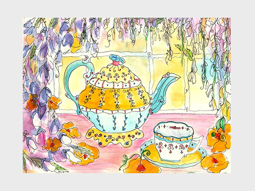 Wisteria Tea Party • Watercolor Print