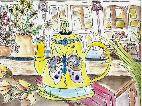 Butterfly Teapot • Watercolor Print