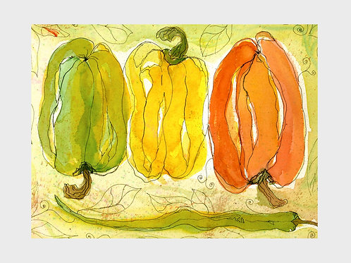 Stoplight Peppers • Watercolor Print
