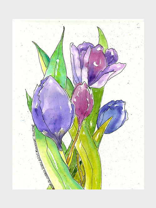 Midnight Tulips • Watercolor Print
