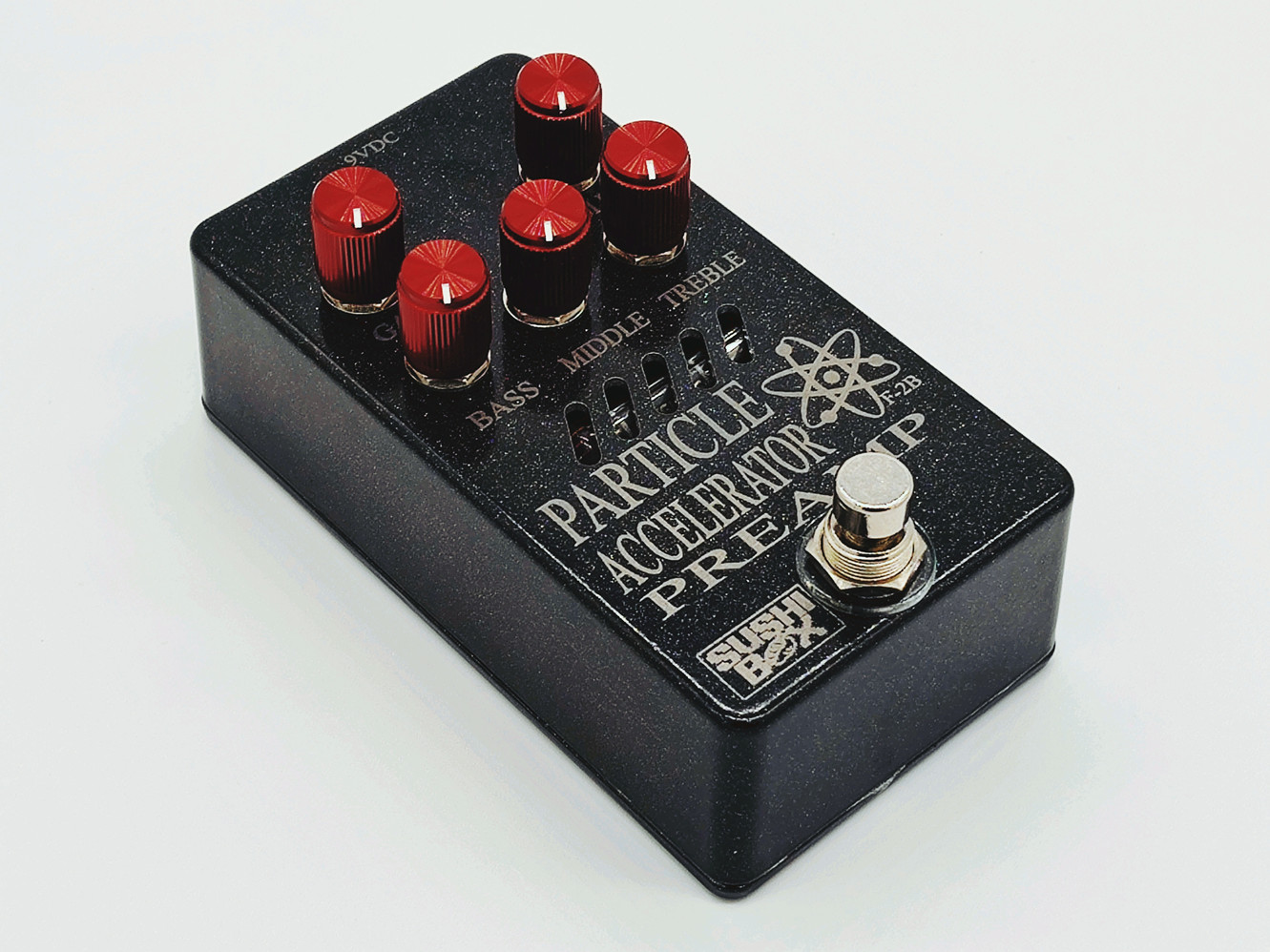 Metallic Black Enclosure with Red Knobs