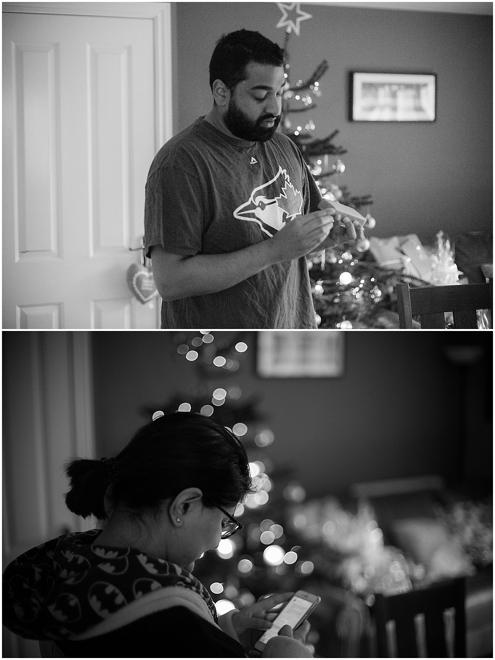 Nick opening his Christmas present in Leciester and Deepa Rodrigues posting on photography Instagram