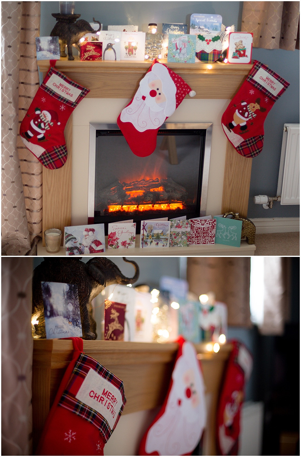 Christmas stockings and a log fire in Leicester