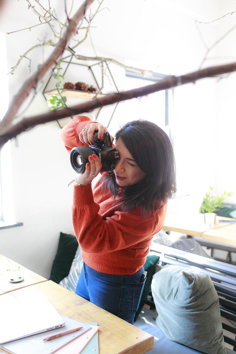 Catching photographer in action during her personal branding shoot in Leicester