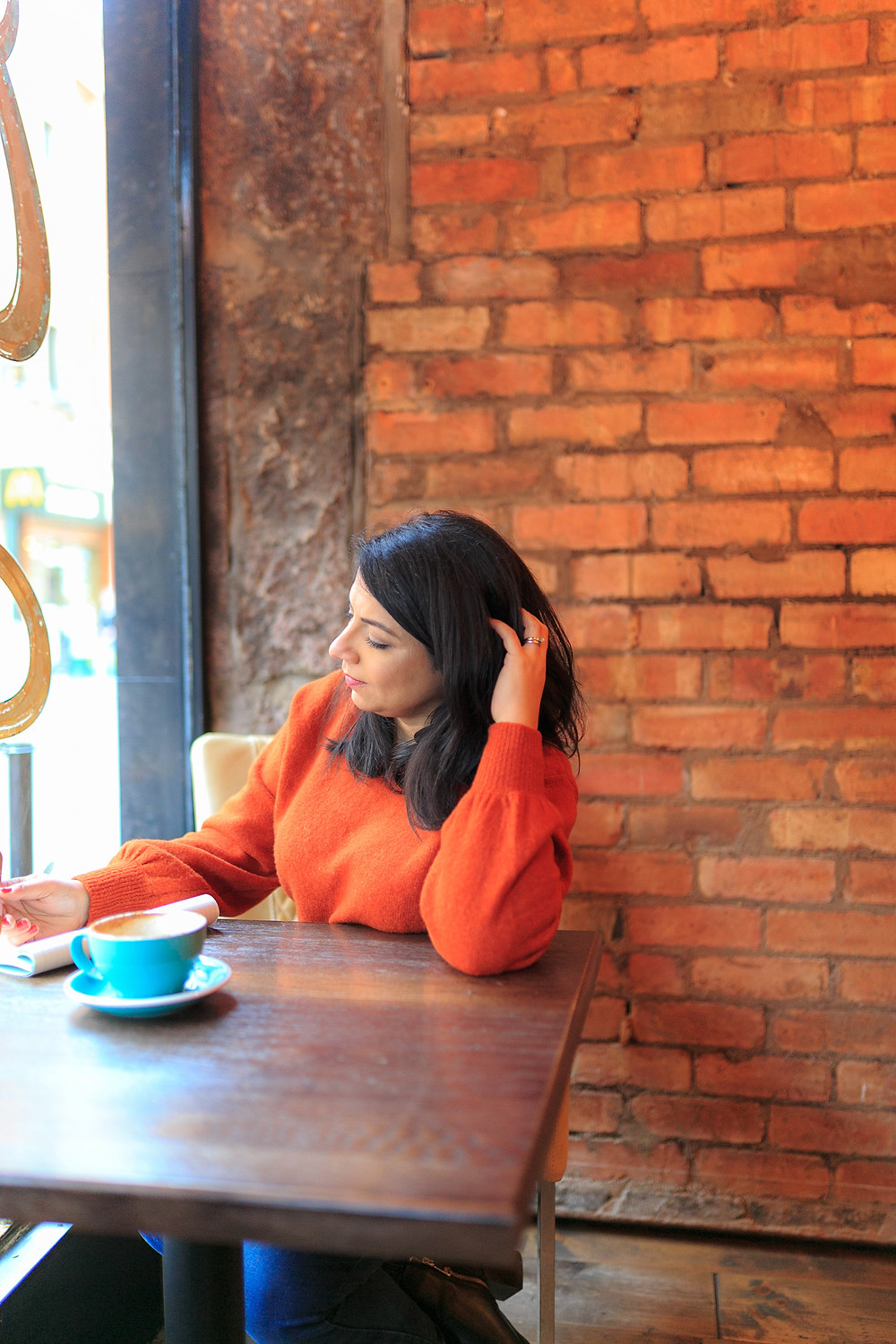 In coffee shop during brand shoot in Leicester