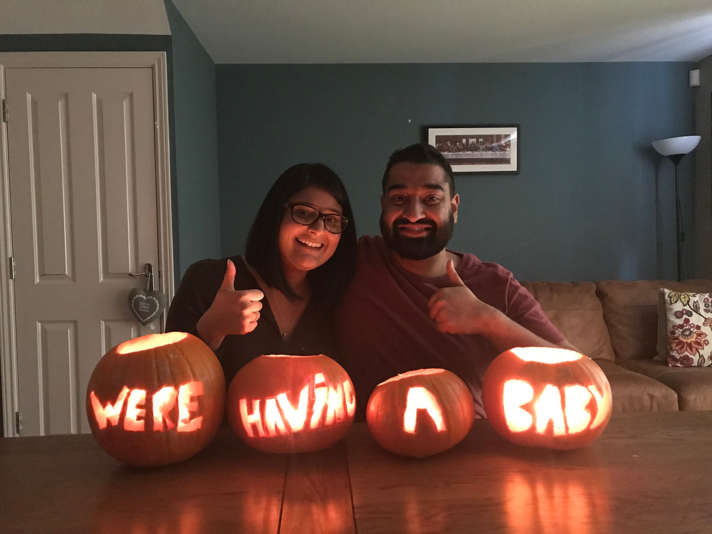 Announcing our Leicester pregnancy using pumpkins