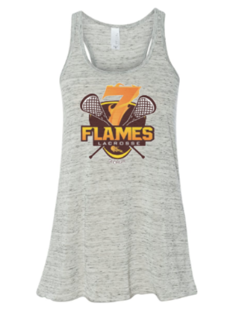 Flowy 7 Flames Logo CUSTOM Name Ladies Tank
