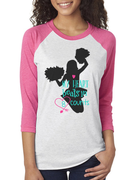 My Heart Beats in 8 Counts Cheer Raglan