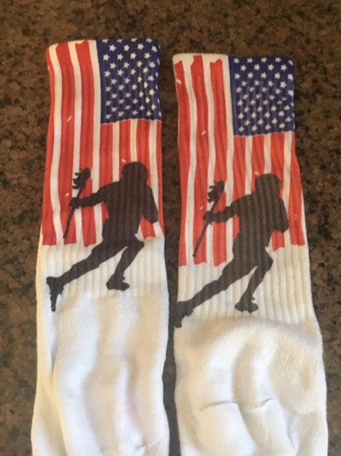 Adult US Flag Lacrosse Player Socks