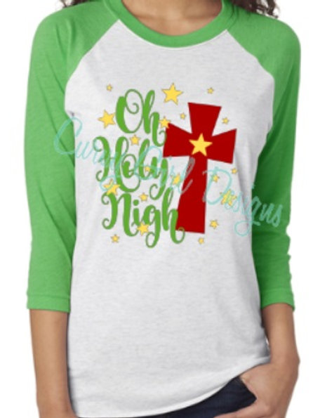 Oh Holy Night Christmas Raglan