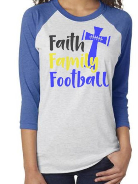 Faith Family Football Raglan