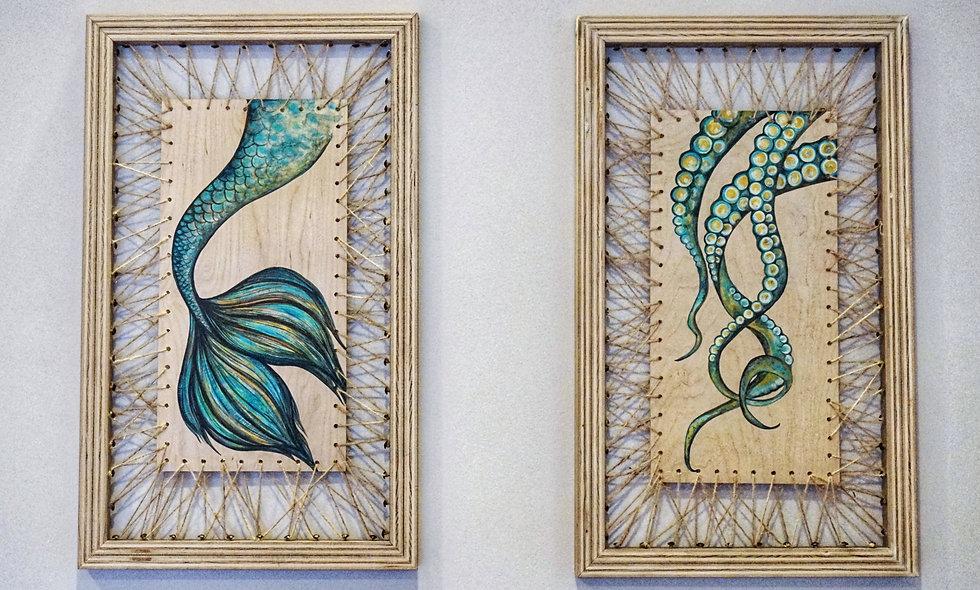 Original acrylic painting on hand-weaved jute twine frame $625 each