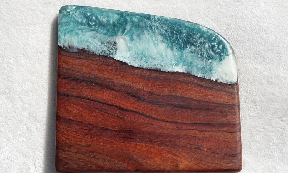 Koa & Turquoise Resin Flow Serving Board