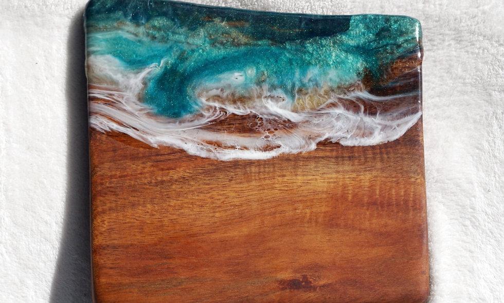 Turquoise Hues Resin overlay Koa Board