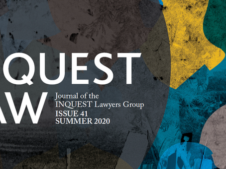 Daniel Cooper's journal article published in the Summer 2020 edition of Inquest Law