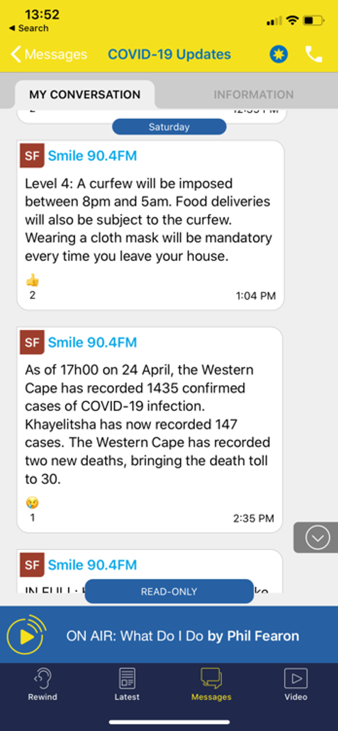 Examples of messaging from the station via the COVID-19 channel
