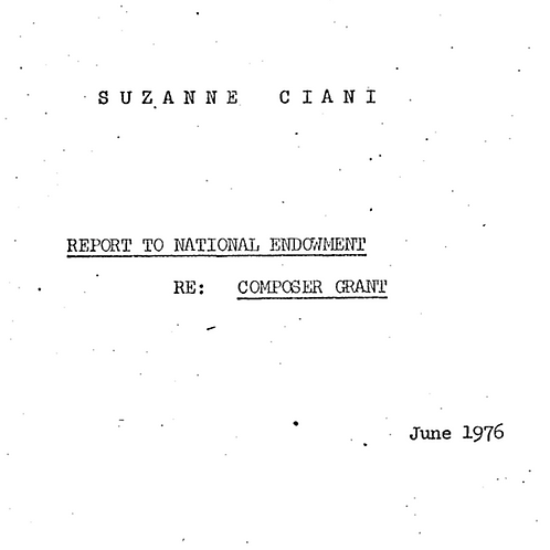 Suzanne Ciani's Report to National Endowment