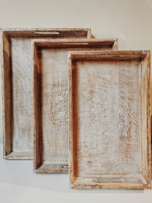 WOODEN TRAYS WITH DECORATIVE CARVING