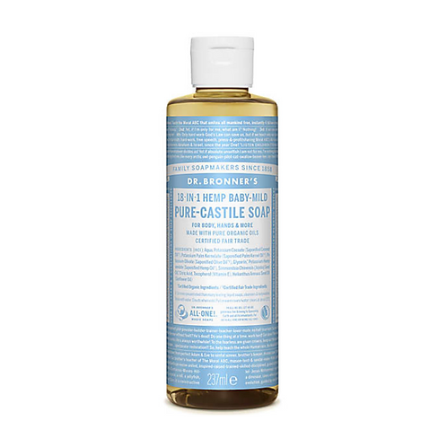 DR BRONNER'S BABY UNSCENTED PURE-CASTILE LIQUID SOAP - 237ML
