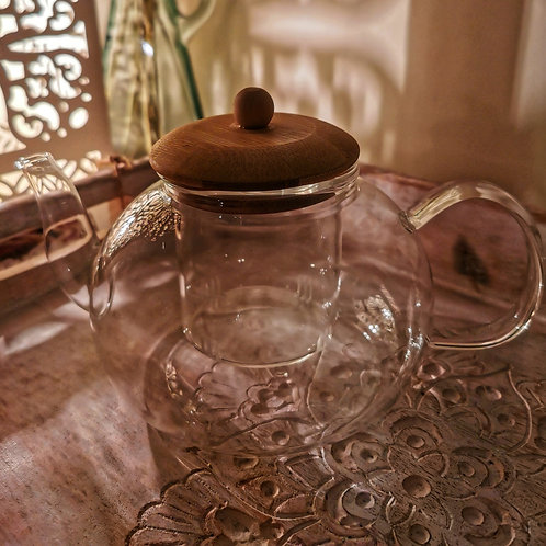 GLASS TEAPOT WITH BAMBOO LID & GLASS INFUSER (800ML)
