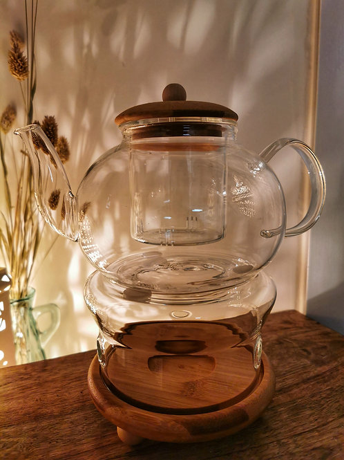 GLASS TEAPOT WITH BAMBOO LID & GLASS INFUSER