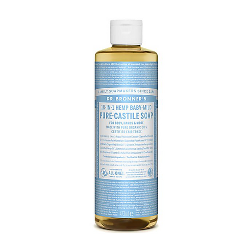 DR BRONNER'S BABY UNSCENTED PURE-CASTILE LIQUID SOAP - 473ML