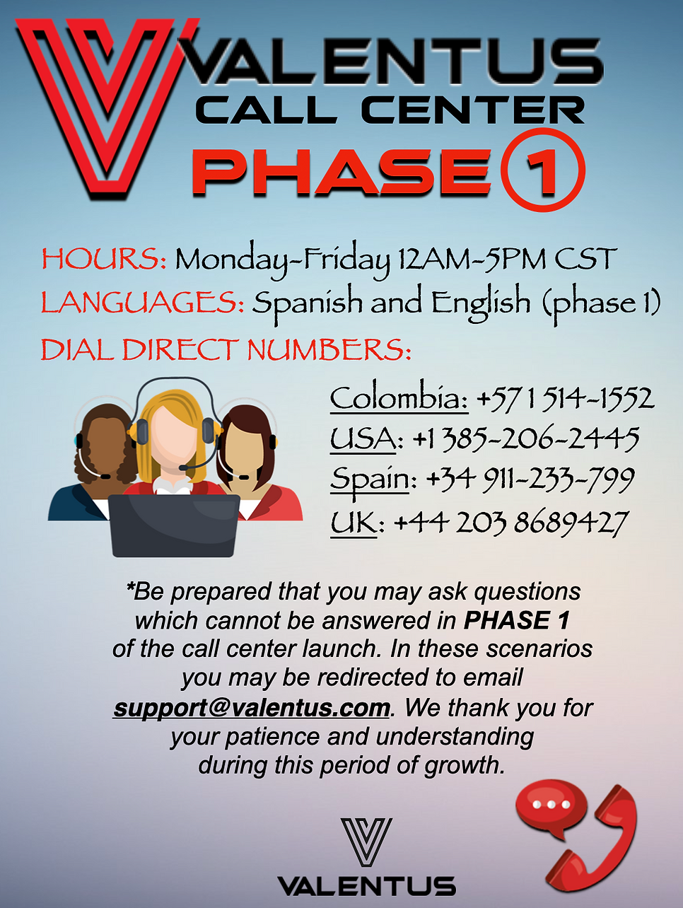 call center phase 1 spanish and english.