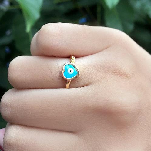 Aliança Olho Grego Coração Azul Claro