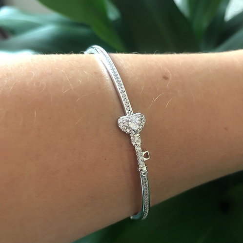 Bracelete Chave Coração Cravejado