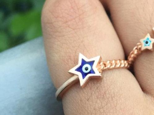 Aliança Olho Grego Estrela Azul