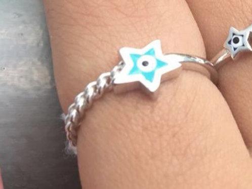 Aliança Olho Grego Estrela Azul Claro