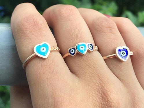 Aliança Olho Grego Coração Azul