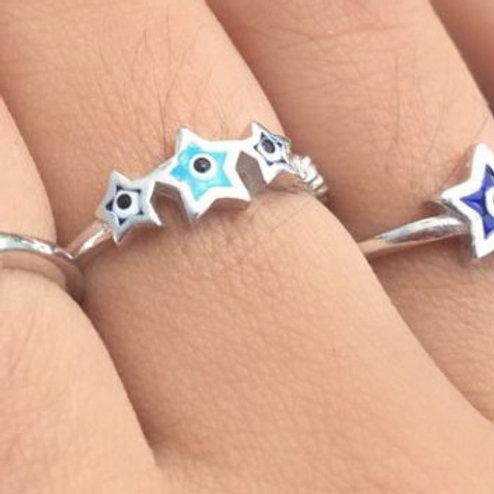 Aliança Triplo Olho Grego Estrela Azul Claro