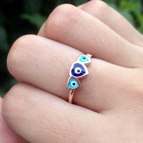 Aliança Triplo Olho Grego Coração Azul