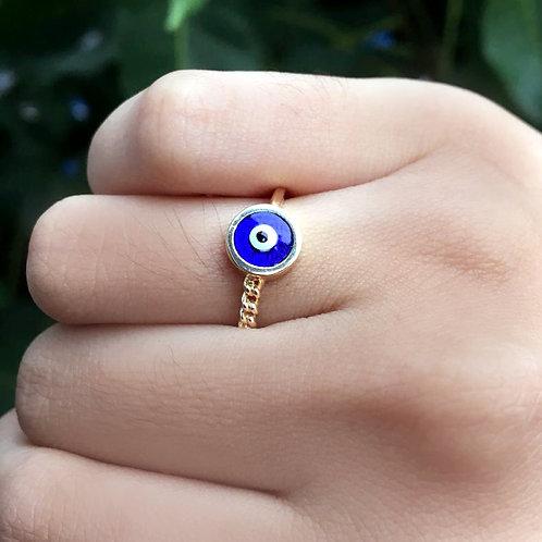 Aliança Olho Grego Redondo Azul