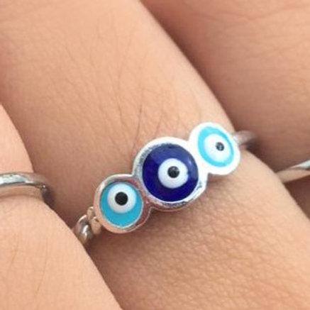 Aliança Triplo Olho Grego Redondo Azul
