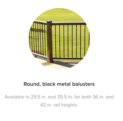 Fiberon Horizon Round Black Metal Balusters