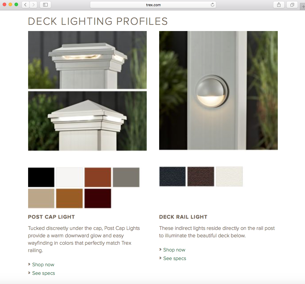 TREX POST CAP LIGHT AND DECK RAIL LIGHT