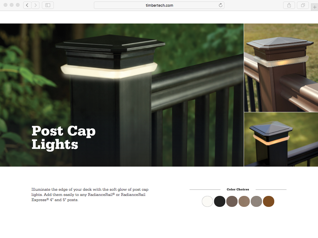 TIMBERTECH POST CAP LIGHTS