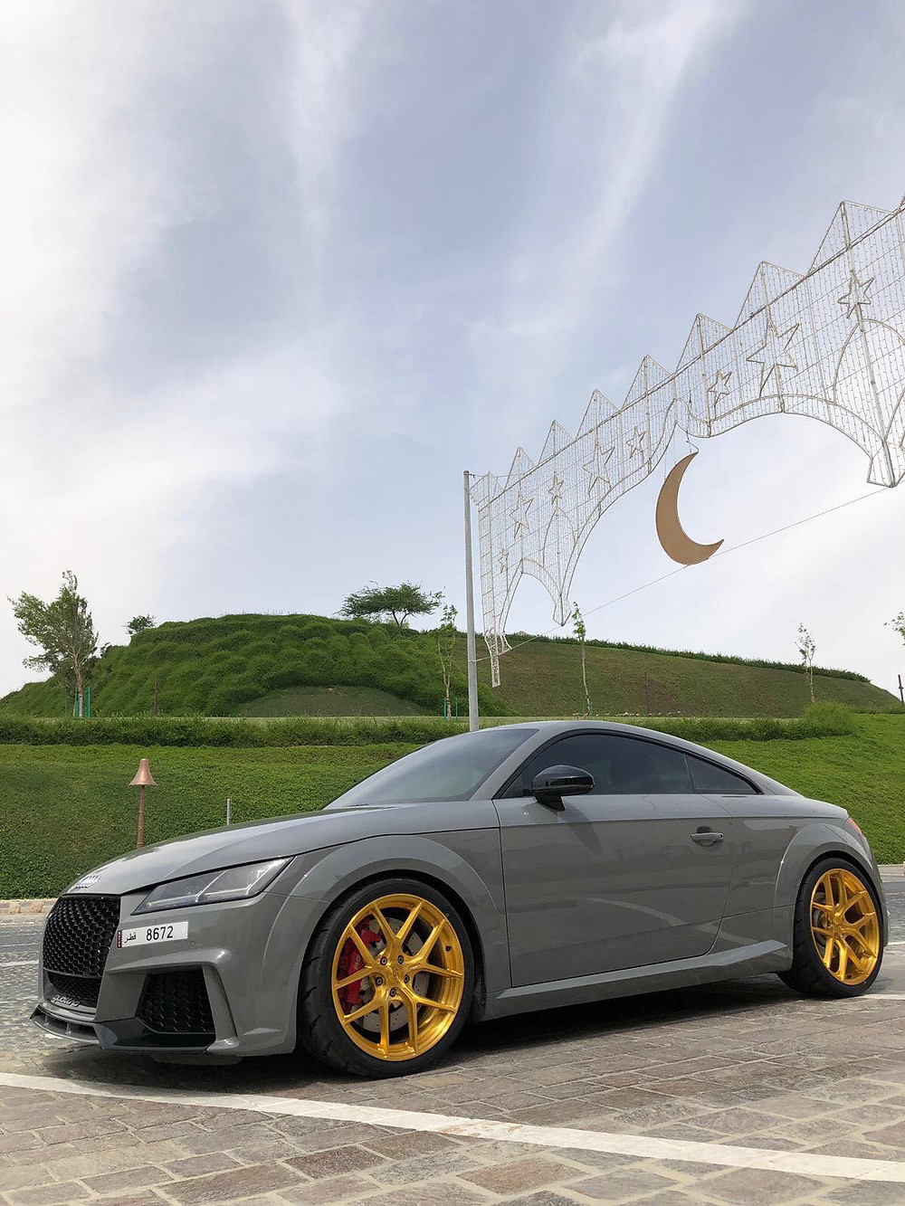 nerd grey audi TTRS with bursted gold wheels