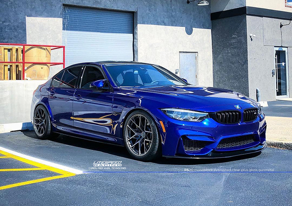 blue bmw m3 with forged concave wheels RS20 Litespeed Racing