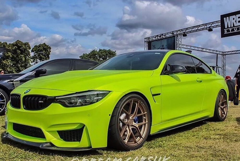 lime green bmw m3 with bronze magnesium wheels by Litespeed Racing