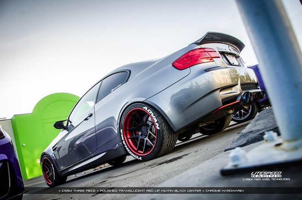 candy red and satin black 3 piece wheels on bmw M3 by Litespeed Racing