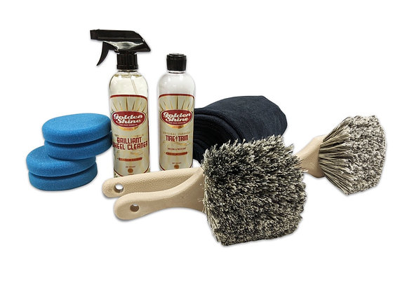 Golden Shine Wheel and Tire Detailing Kit with Brushes and Microfiber 49927K