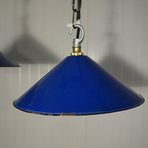 enamel, blue, factory lamp, lamp shade, 1930s, original, interior design